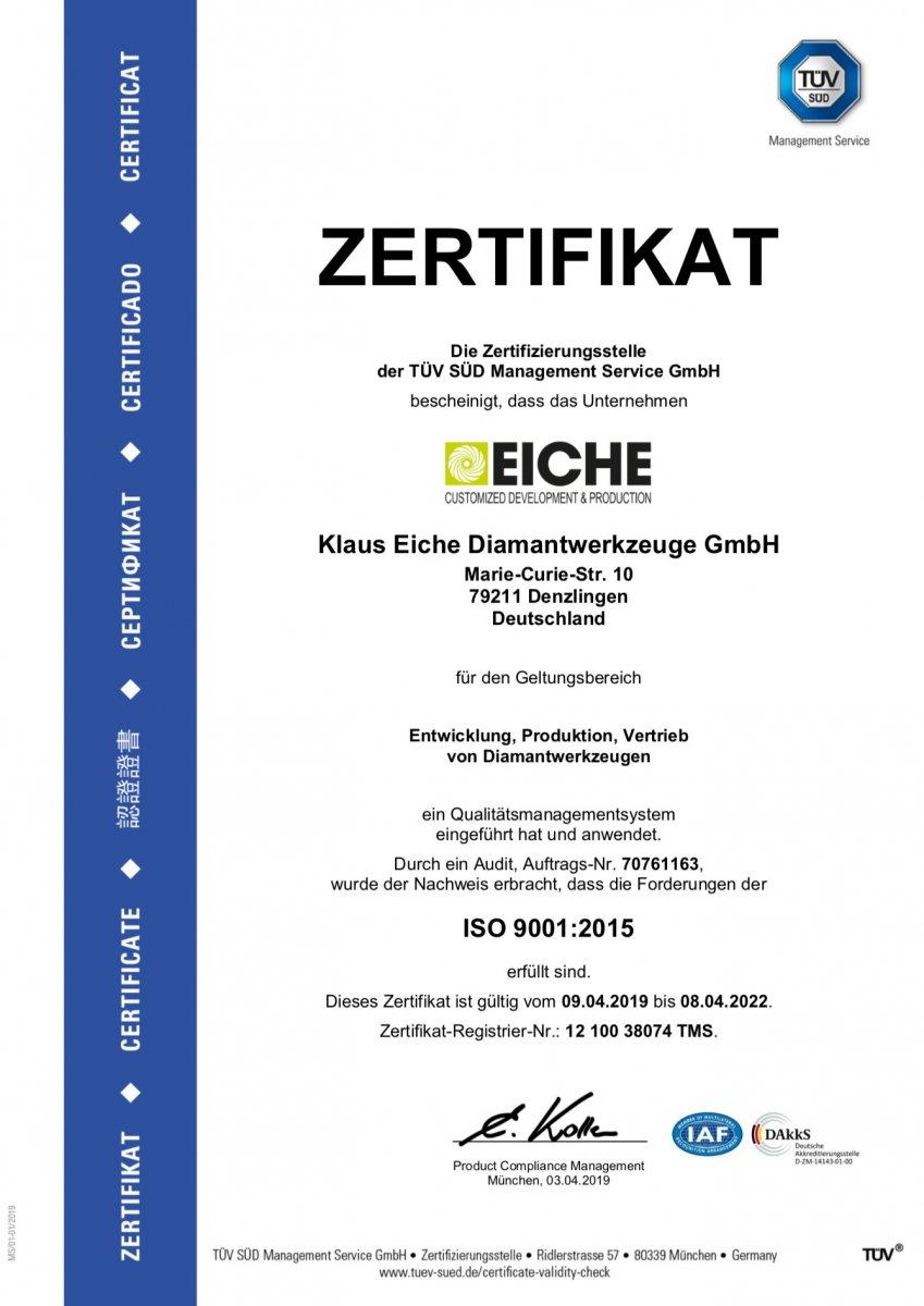 ECH ISO9001 zertifikat