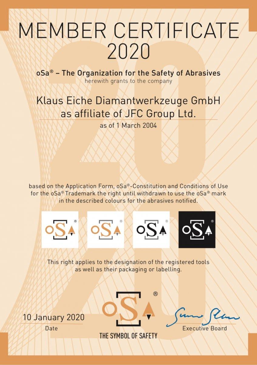 oSa member certificate 2020